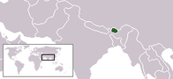 A map showing the location of Bhutan