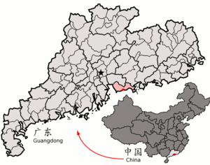 Location of Shenzhen in the province