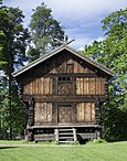 'Loft' storehouse from Berdal, southern Vinje, Telemark, Norway. Built 1750-60. Now at the Norwegian Museum of Cultural History.