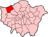 Location of the London Borough of Harrow in Greater London