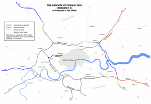Westway, London - Plan of the London Motorway Box scheme from mid 1960s showing the Westway