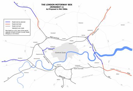 Ringways scheme showing the East Cross Route