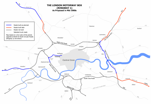 London Motorway Box 1960s Plan