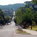 Looking up Dickson Street, Fayetteville, Arkansas.jpg
