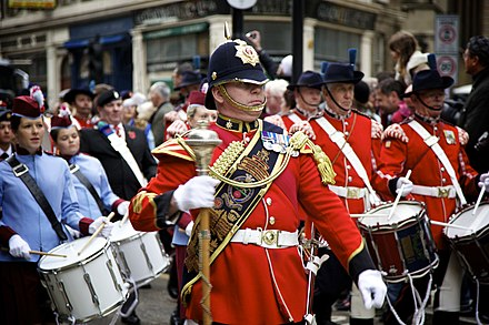 The Princess of Wales's Royal Regiment's Corp of Drums at the Lord Mayor's Show in 2010 Lord Mayor's Show 2010 marching band.jpg