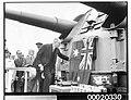 Lord Mayor Alderman Crick unveiling a plaque at a presentation ceremony on HMAS SYDNEY (II), February 10th 1941 (3294140684).jpg