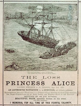 Sinking of SS Princess Alice - Artist's impression of the sinking on a contemporary pamphlet