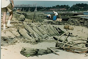 1988–89 North American drought - Exploration of wooden hull wrecks in the Mississippi River in Memphis, Tennessee during the drought.