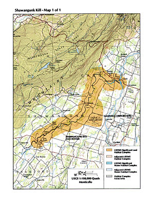 Shawangunk Kill - The lower Shawangunk habitat region as identified by the U.S. Fish and Wildlife Service