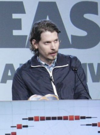 Papers, Please - Lucas Pope accepting an award for the game at the 2014 Game Developers Conference