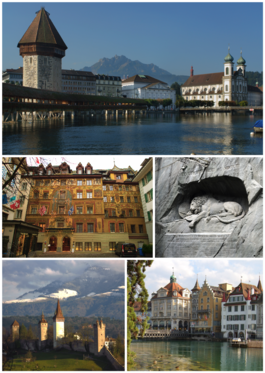 Clockwise from top: Kapellbrücke, Löwendenkmal, Old town, City walls, Traditional frescoed building