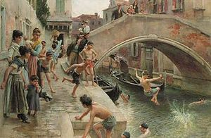 Ludwig Passini - Figures on a Venetian canal