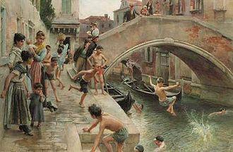 Ludwig Passini - Figures on a Venetian canal