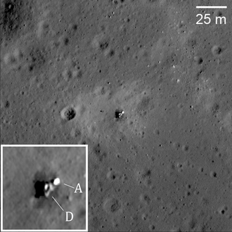 Luna 23 - Image of Luna 23 laying horizontally on the lunar surface. A: Ascent Stage, D: Descent Stage.