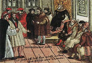 Diet of Worms - Luther in Worms, colourized woodcut, 1577