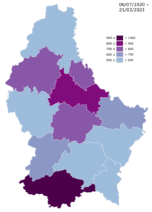 Luxembourg COVID avg new cases per 100000 distribution map.png