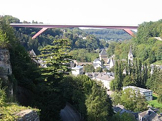 Grand Duchess Charlotte Bridge - The bridge connects  Limpertsberg (left) to Kirchberg (right)