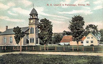 Strong, Maine - Image: M. E. Church & Parsonage, Strong, ME