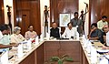 M. Venkaiah Naidu reviewing the programme implementation and initiatives of Mo I&B, in the presence of the Chief Minister of Chhattisgarh, Dr. Raman Singh, at Raipur, Chhattisgarh.jpg
