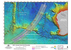 Search for Malaysia Airlines Flight 370 - Map of search operations for the underwater search which began in October 2014.