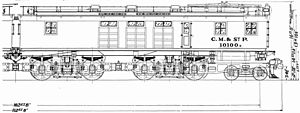 Milwaukee Road class EP-1, EF-1, EF-2, EF-3, and EF-5 - EF-1 side-view drawing.
