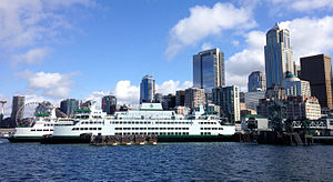 MV Samish - Samish parked at Colman Dock in Downtown Seattle shortly after she was accepted by Washington State Ferries in April 2015.