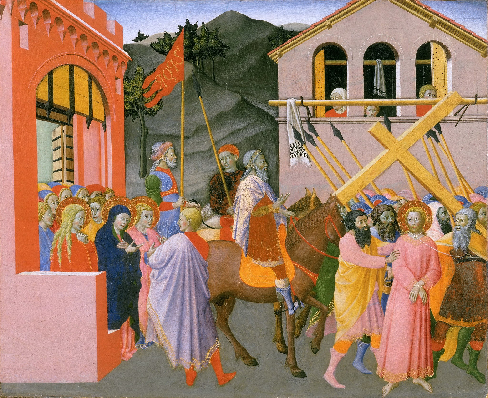 Master of Osservanza, Way to Calvary, about 1440-1444, tempera and gold on panel; 36.8 x 46.8 cm (whole panel), Philadelphia, Museum of Art