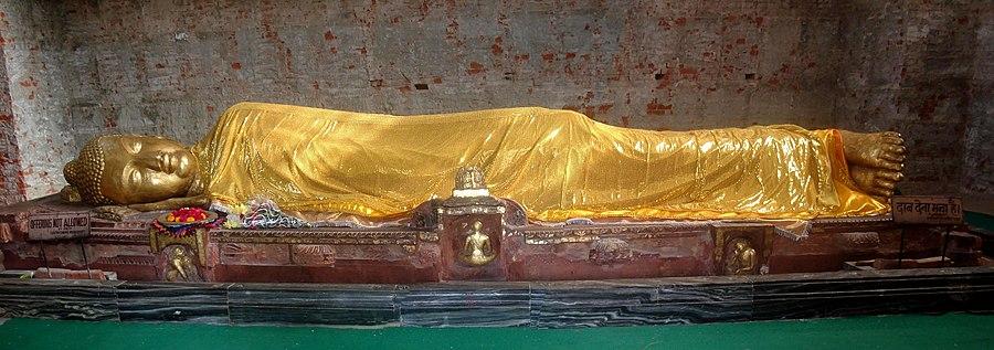 குசிநகரில் பரிநிர்வாணம் அடைந்த கௌதம புத்தர் சிற்பம்