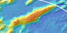 Colour-coded bathymetric map showing an elongated seamount