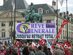 2010 French pension reform strikes - The French Union Solidaires protesting in the Place du Martroi in Orléans