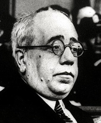 Manuel Azaña was the intellectual leader of the Second Republic and headman of the Republican-side during most of the Civil War. Manuel Azaña, 1933.jpg
