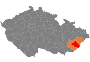 Vị trí huyện Zlín trong vùng Zlín trong Cộng hòa Séc