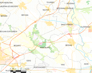 Montblanc, Hérault - Map