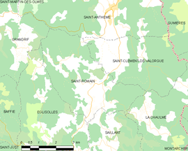 Mapa obce Saint-Romain