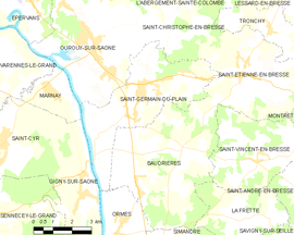 Mapa obce Saint-Germain-du-Plain
