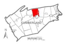 Map of Cumberland County, Pennsylvania highlighting North Middleton Township