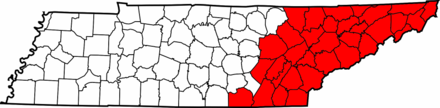 Map of Tennessee highlighting East Tennessee Map of East Tennessee counties.png