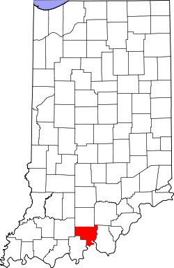 map of Indiana highlighting Crawford County
