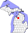 State map highlighting Kalkaska County