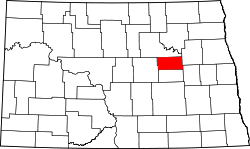 map of North Dakota highlighting Eddy County