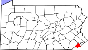 Map of Pennsylvania highlighting Delaware County