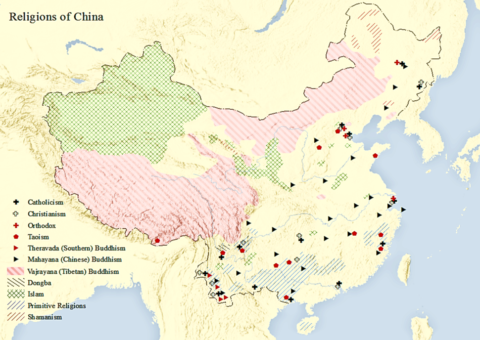 Map of Religions in China
