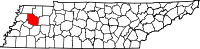 Map of Tennessee highlighting Gibson County