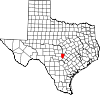 State map highlighting Blanco County