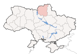 Location o Chernihiv Oblast (red) athin Ukraine (blue)