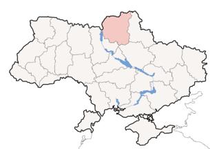Map of Ukraine with Chernihiv Oblast