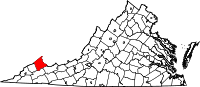 Map of Virginia highlighting Buchanan County