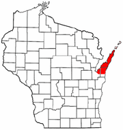 Map of Wisconsin highlighting Door Peninsula