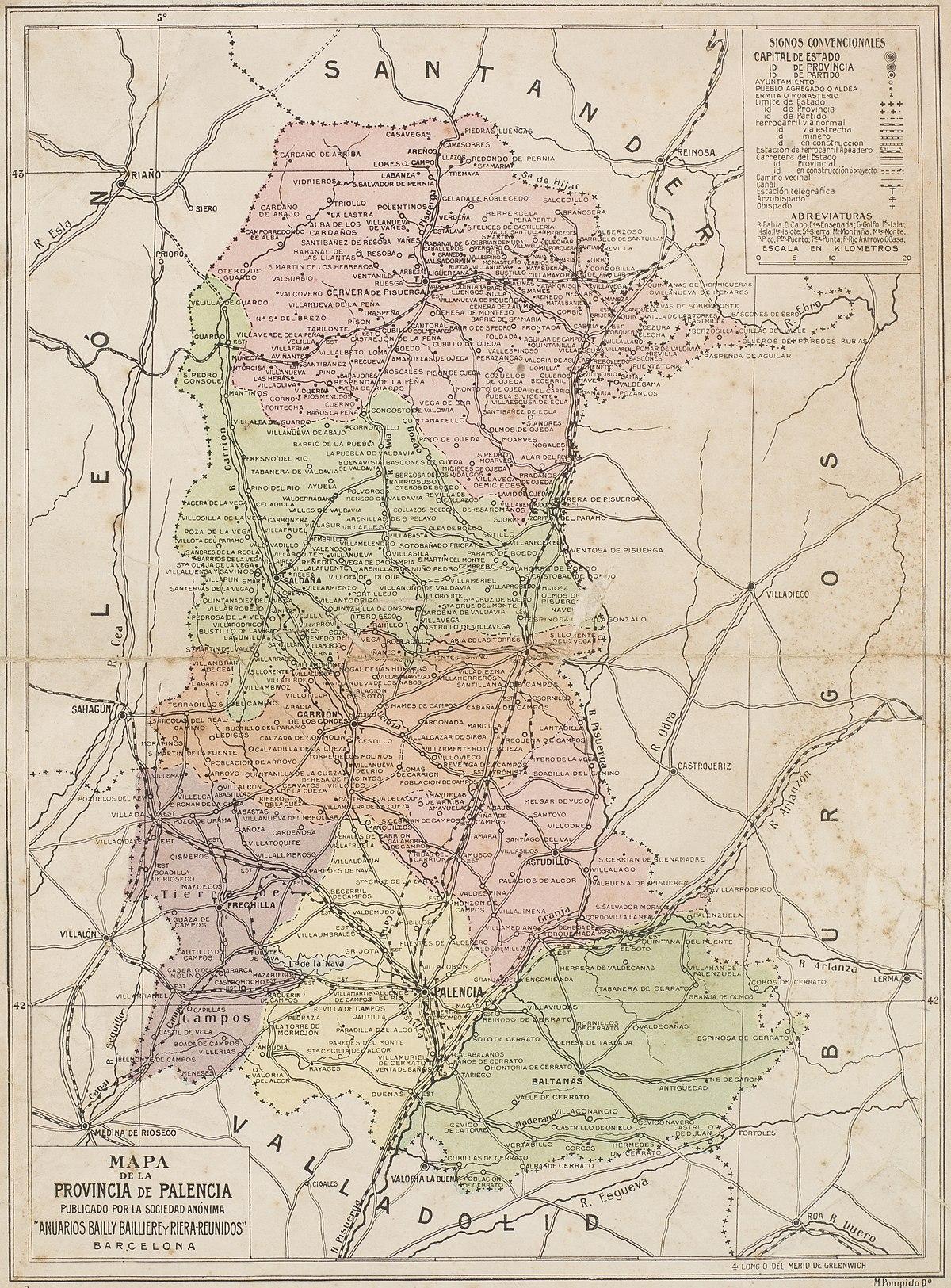 Provincia De Palencia Mapa.Mapa De La Provincia De Palencia Wikidata