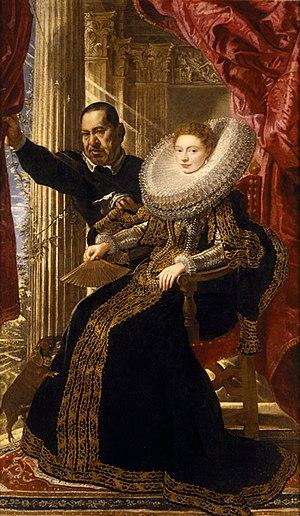 Portrait of a Noblewoman with a Dwarf - c.1606 portrait by Peter Paul Rubens